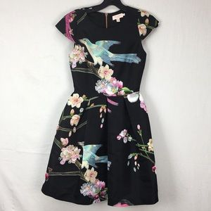 Ted Baker Black Zaldana Floral Fit/Flare Dress